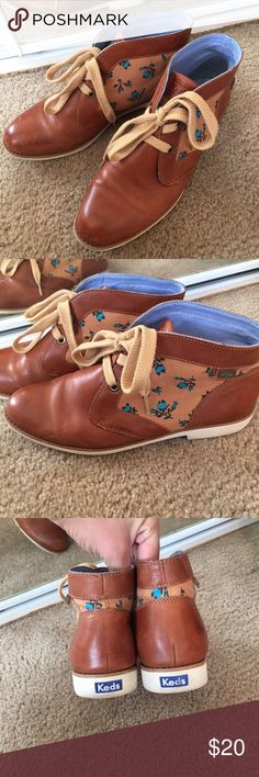 Brown Keds Booties Fabulous tennis shoe like sole. Cute little blue flowers on the sides in canvas. Super cute and fit true to size. Keds Shoes Ankle Boots & Booties