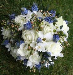 Muscari, Akito and Paper White bridal bouquet