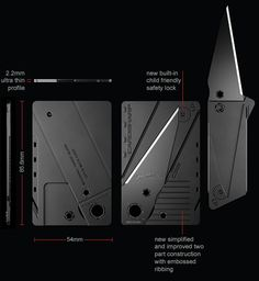 Cardsharp3 black: straight edge credit card folding knife