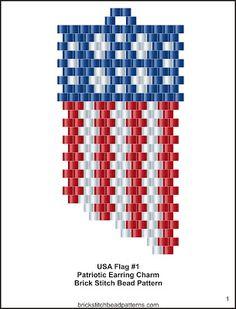 USA Flag #1 Patriotic Seed Bead Charm Pattern pg 1