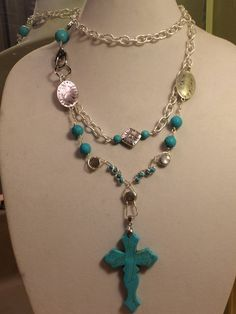 34 inch Turquoise Cross Pendant Double by PCMRNTREASURESJEWELS