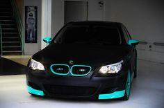 Clean matte black and sky blue BMW M5