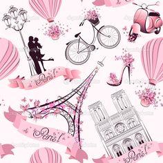 Descargar - París símbolos de patrones sin fisuras. viajes románticos en París. Vector — Ilustración de stock #50138019