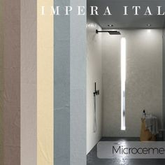 Microcement wall and floor kit offered by Impera Italia for a create durable contemporary design. Micro screed or beton cire look with an Italian finish Concrete Tiles, Cement, Kitchen Tiles, Contemporary Design, Flooring, Mirror, Bathroom, Wall, Furniture
