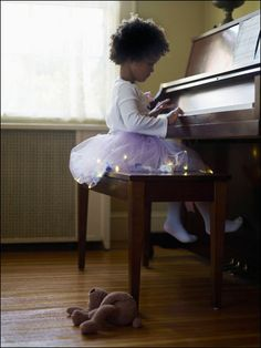tutu piano player ~ the only thing cuter than a child at the piano is a kitten on the piano.