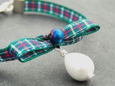 Tartan Ribbon Pearl Bracelet Green Tartan by PhillipaJaneDesigns