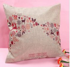 Pink Reindeers Linen Cushion Covers removable for washing Filled with 100% Australian Alpaca Fibre