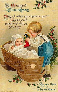 Vintage Ellen Clapsaddle Christmas postcard boy with baby