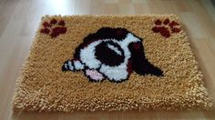 Bernese Mountain Dog sleeping puppy rug. Hand hooked rug. Latex backed to stop slip. Size 52x36cm (small). | eBay!