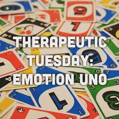 Emotion UNO 1. Time: 10 mins.- 1 hour 2. Contraindications: Those with visual perceptual issues and those who are colorblind. 3. Goals: identifying emotions, taking turns, attention to task