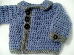 Crocheted Baby Boy or Girl's Sweater Chunky Denim Blue and Gray sized 3 - 6  Months Denim Blue Jean Jacket Style Crocheted Baby Sweater by SatisfyYourYarnings on Etsy https://www.etsy.com/listing/220056526/crocheted-baby-boy-or-girls-sweater