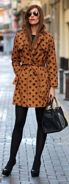 Heart Print Trench Coat                                                                             Source