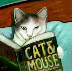 """cat reading in bed, book title is """"cat & mouse"""""""