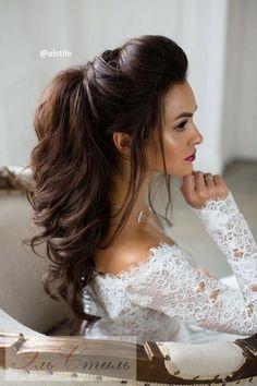 half up wedding hairstyles for long hair - Hair Models Long Bridal Hair, Half Up Wedding Hair, Wedding Hairstyles Half Up Half Down, Wedding Hairstyles For Long Hair, Wedding Hair And Makeup, Trendy Hairstyles, Prom Hairstyles, Wedding Nails, Fashion Hairstyles