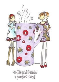 Stamping Bella - Uptown girls Clarissa and Camille with a cafe