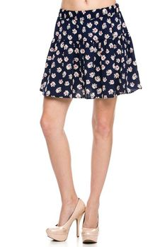 Music Festival https://sincerelysweetboutique.com/shop-collections/music-festivals.html - #music-festivals #festival #musicFestival - Floral Print Skater Skirt in Navy