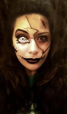 Creepy makeup and contacts.