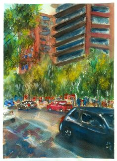Watercolor illustration. El Bosque norte street. Santiago city.