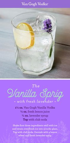 Add fresh floral flavor to your summer get-togethers with a Vanilla Sprig cocktail. Shake 1½ oz. Van Gogh Vanilla Vodka, ½ oz. fresh lemon juice and ¼ oz. lavender syrup very well with ice and pour over fresh ice into a rocks glass. Top with club soda and garnish with a lemon wheel and fresh lavender sprig.