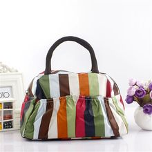 Best Price Portable Ployester Waterproof Women Handbags Folding lunch Bag Thermal Food Picnic Lunch Bags Without Package(China)