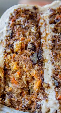 Carrot Cake with Cream Cheese Maple Pecan Frosting ~ This irresistible carrot cake is covered with a thick layer of cream cheese maple pecan frosting... Crushed pineapple makes it super moist.