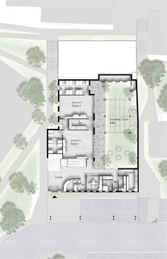 Ground floor concept plan showing layout for Childcare centre and external play areas. See original image at http://www.michaelbellarchitects.com/index/works-in-progress.html