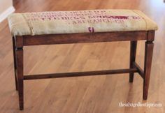 burlap upholstered bench – one way to recycle a coffee bean bag
