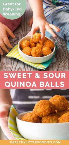 These sweet and sour quinoa bites are full of flavour and great for baby-led weaning, toddlers and big kids. Delicious hot and cold making them perfect for the lunchbox or as an after school snack. Quinoa Recipes For Kids, Healthy Lunches For Kids, Baby Food Recipes, Healthy Snacks, Toddler Recipes, Baby Recipes, Kid Snacks, Chicken Recipes, Snack Recipes