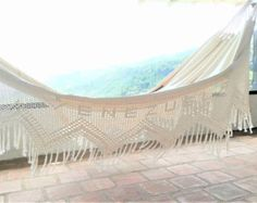 Beige Double Hammock hand-woven Natural Cotton with от hamanica