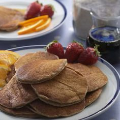 EatingWell reader Kathy Moseler of Barrington Hills, Illinois, contributed this convenient recipe to our Kitchen to Kitchen department. The pancakes are made with 100 percent whole-wheat flour and get an additional fiber boost from flaxseed meal.