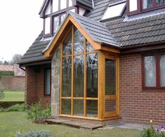 This porch is more like a conservatory proving you can combine both! Porch Uk, Home Porch, House With Porch, House Front, Porch Designs Uk, Front Porch Design, Entry Way Design, Sas Entree, Enclosed Front Porches