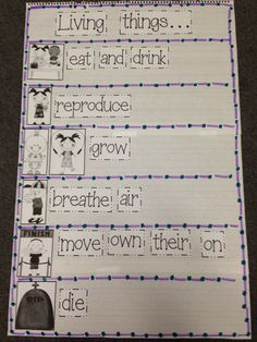 I like the idea of establishing this anchor chart with the students to give concrete ideas over the necessities of living things. This could be used at the introduction of the unit and placed in the room for future reference. 1st Grade Science, Primary Science, Kindergarten Science, Elementary Science, Science Classroom, Teaching Science, Science Activities, Science Fun, Science Ideas