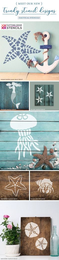 Decoratief schilderen Creatieve hobby's Perfect Catch Craft Furniture Stencil Nautical Stencil Design for DIY Crafts