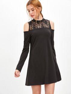 Vestido línea A con hombros al aire y encaje floral - negro