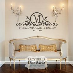 Family Last Name Monogram Personalized Custom Wall Decal Sticker - Custom vinyl wall decals sayings for family room