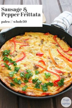 This simple sausage and peppers frittata is sure to become a favorite for busy mornings. You can add whatever you want to a frittata – bacon, caramelized onions, cheese, mushrooms, spinach, etc. #frittata #eggsforbreakfast #healthybreakfast #whole30breakfast Breakfast On A Budget, Vegan Breakfast Options, Whole 30 Breakfast, Savory Breakfast, Healthy Breakfast Recipes, Healthy Recipes, Whole30 Recipes, Breakfast Ideas, Delicious Recipes