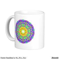 Center Sunshine Coffee Mug. An original design by Laurie Bethard, DBA My Blue Skye. (Copyright 2016, My Blue Skye. All rights reserved.) #bohochic #mandala #mug