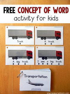 free concept of word activity for kids