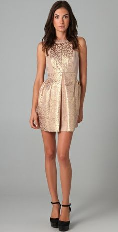 Light bronze color foil printed dress