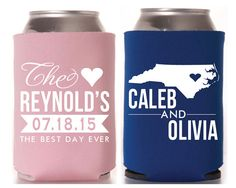 North Carolina Wedding Favors, Wedding Favors, State Monogrammed Wedding Favors, State Bridal Shower Gifts, Personalized Wedding Favors, State Bridal Shower Gifts, Anniversary Party Favors from Sip Hip Hooray!!  Send your guests home with a party or wedding favor they will use for years to come! Our can coolers are made to order and add a personal touch to any occasion! With our large selection of designs, can cooler colors, ink colors and camo prints, your options are endless!  Completely…