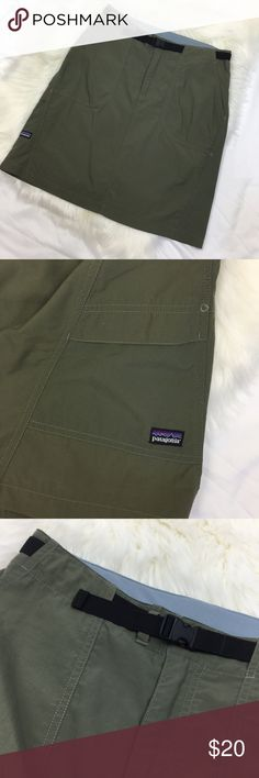 Patagonia Outdoor Skirt Patagonia Outdoor Skirt Army Green Color Perfect for Hiking Cinch Front Belt Allows for Custom Fit Hidden Zipper in Back as Pictured Side Pocket with Velcro Great Used Condition Extra Button Sewn Inside Size Unknown but Fits like a 6 or 8 Waist Measures 30 Inches Patagonia Skirts
