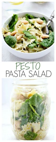Pesto Pasta Salad - delicious pasta salad recipe with pesto, bow tie pasta, spinach and lemon. Perfect to pack into a jar for a picnic! - meal prep - lunch on the go - dinner idea - pasta salad hot or cold Vegetarian Picnic, Vegetarian Meal Prep, Vegetarian Recipes, Healthy Recipes, Healthy Picnic, Picnic Snacks, Picnic Dinner, Vegetarian Salad, Healthy Menu