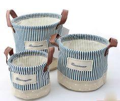 3pc Blue Strip Cotton Linen Storage DiaperBaskets, PE Water Proof Pants Storage Buckets,Toys Storage Baskets