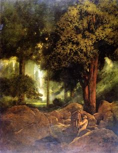 Maxfield Parrish The Doctrine of Divine Light — DOP New Hampshire, Maxfield Parrish, Inspirational Artwork, Landscape Art, Landscape Paintings, American Artists, Painting & Drawing, Painting Trees, Les Oeuvres