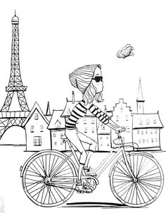 Revista Vida simples colorir - adult coloring pages Paris bike art to colour in, paint your travels Adult Coloring Pages, Coloring Pages To Print, Free Printable Coloring Pages, Colouring Pages, Coloring Sheets, Coloring Books, Free Printables, Simple Coloring Pages, Art Therapy Activities