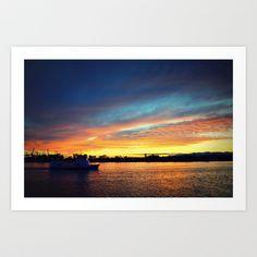 Bring it Home Art Print by RichCaspian - $18.00 #photography #art #sunset #ocean #sea #nautical #boat #ship #sailing #blue #orange #dramatic #print