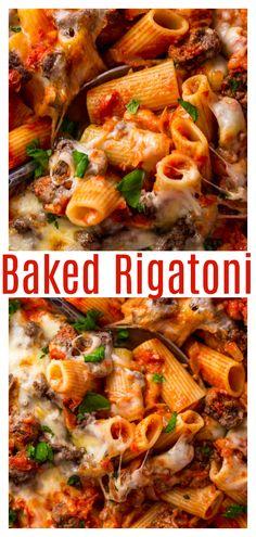 Rigatoni Recipes, Baked Rigatoni, Italian Dishes, Italian Recipes, Italian Meals, Breakfast Recipes, Dinner Recipes, Dinner Ideas, Yummy Recipes