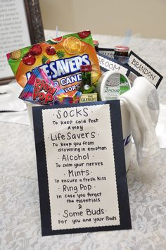 super cute idea for the groom that my girlfriends made for him the day of