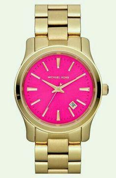 Michael kors pink dourado relógio