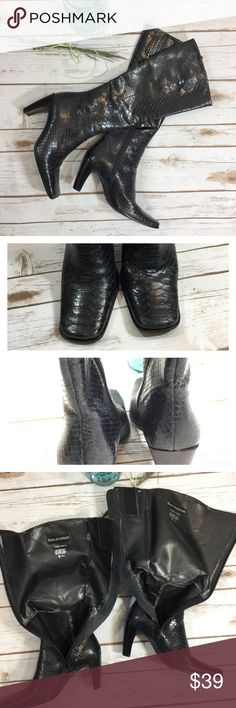 Enzo Angiolini black leather snake embossed boots Good condition Enzo Angiolini real leather snake skin embossed boots. Best suited for NARROW calves and ankles. Chip on left heel. Wear inside. Slight wear on toes and backs of heels. 3 inch heels, ankles 4.5 inches wide, calves 6 inches wide. Enzo Angiolini Shoes Heeled Boots